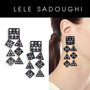Lele Sadoughi Black Spotlight Chandelier Earrings